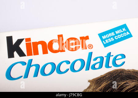 LONDON, UK - MAY 23RD 2017: The Kinder Chocolate logo on one of their confectionery products, on 23rd May 2017. - Stock Photo