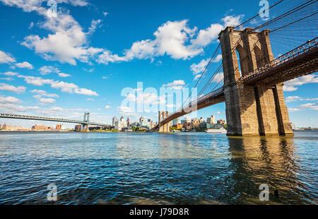 New York City, Brooklyn Bridge, East River - Stock Photo