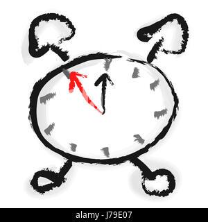 aquareli - the alarm clock - 5 to 12 - Stock Photo