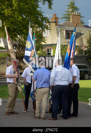 Selkirk Common Riding practice night for Casting of the Colours a tradition originating with the Scottish defeat - Stock Photo