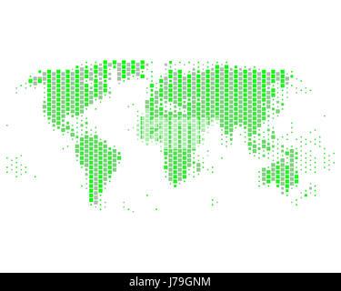 green angular square card dot globe planet earth world atlas map of the world - Stock Photo