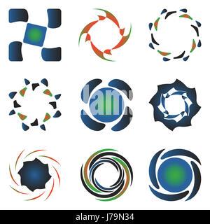 blue art emblem graphic modern modernity green round about black swarthy - Stock Photo