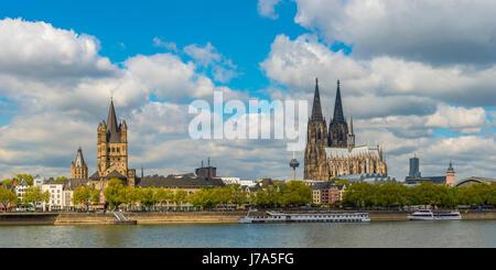 Rathaus, Gross St. Martin, Colonius Fernsehturm, Koelner Dom, Altstadtufer, Rhein, Koeln, Rheinland, Nordrhein-Westfalen, - Stock Photo