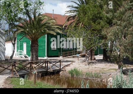 Casa de fusta information center at Delta de l'Ebre natural park. - Stock Photo