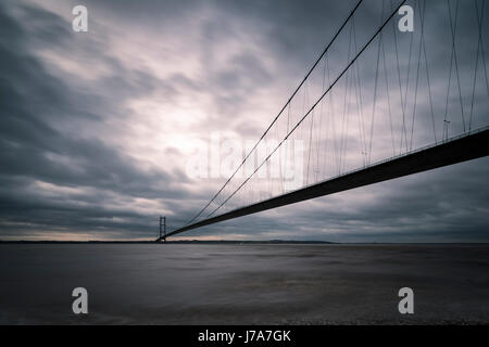Humber Bridge, Single Span Suspension Bridge, near Kingston upon Hull, England, UK. - Stock Photo