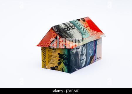 Origami house made with Australian Notes - Stock Photo