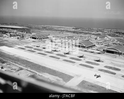 Military base of the United States Army air transport command, circa 1943. - Stock Photo