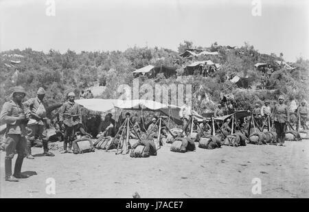Turkish soldiers in Gallipoli, Turkey, during World War I. - Stock Photo
