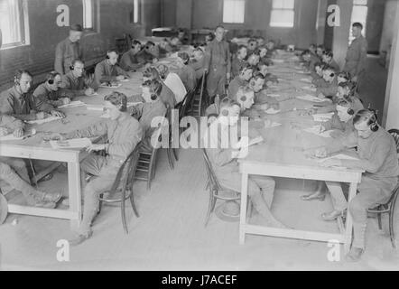Members of the U.S. Army Signal Corps in telegraph training during World War I. - Stock Photo
