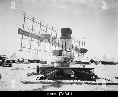 Three soldiers of the U.S. Army sit in place at a SCR-268 radar during World War II. - Stock Photo