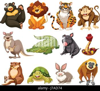 Different kinds of jungle animals illustration - Stock Photo