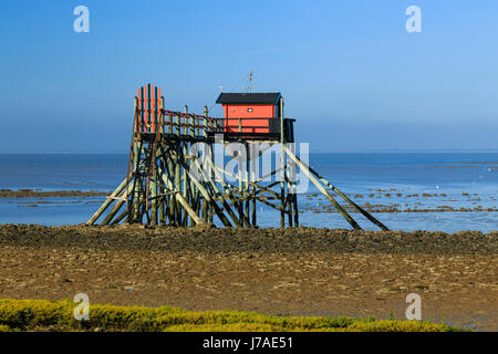 France, Charente Maritime, Port des Barques, Madame island, shore operated lift net at low tide - Stock Photo