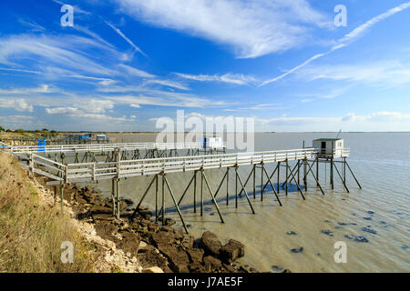 France, Charente Maritime, Port des Barques, fishing with shore-operated lift net or carrelet - Stock Photo