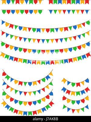 Festa Junina flags vector illustration isolated on white background. Festa de São João and Festa de Santo Antonio - Stock Photo