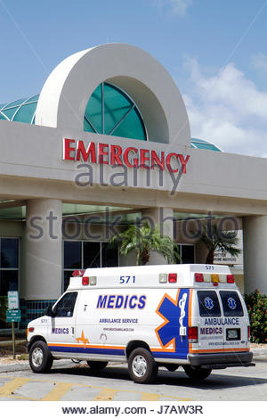 Miami Beach Florida Mount Mt. Sinai Medical Center centre hospital health care emergency entrance ambulance medical - Stock Photo
