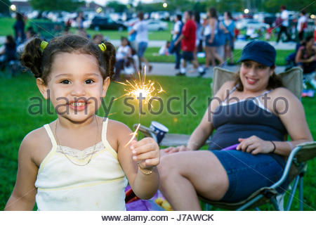 Miami Florida Doral J. C. Bermudez Park Fourth 4th of July celebration Hispanic family woman mother girl daughter - Stock Photo