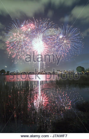 Miami Florida Doral J. C. Bermudez Park Fourth 4th of July celebration tradition fireworks burst water reflection - Stock Photo