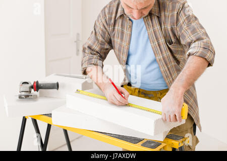 workshop measured sured measure renovation professional improvement handyman - Stock Photo