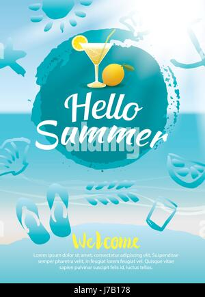 hello summer beach party poster background template - Stock Photo