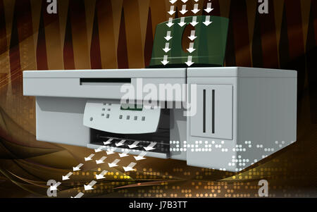 office object graphics colour electronics three-dimensional illustration - Stock Photo