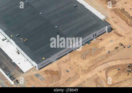 Aerial View Commercial Construction Site - Stock Photo