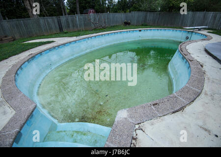 Dirty Neglected Swimming Pool - Stock Photo