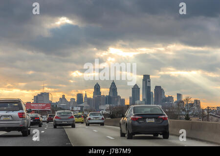 I-95 Interstate Highway In To Philadelphia With Skyline & Sunburst - Stock Photo