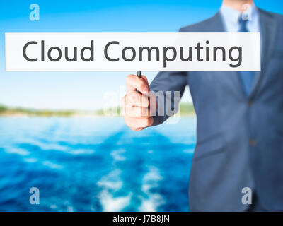 Cloud Computing - Business man showing sign. Business, technology, internet concept. Stock Photo - Stock Photo