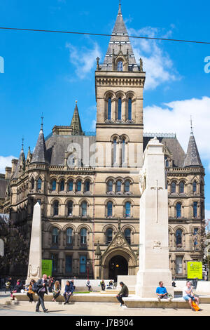 War memorial outside the rear entrance of Town Hall on St Peter's Square in Manchester UK - Stock Photo