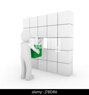 3d human cube green white - Stock Photo
