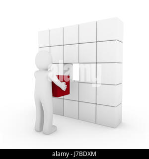 3d human cube red white - Stock Photo