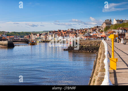 The harbour and old seaside town of Whiby, North Yorkshire, England, UK - Stock Photo