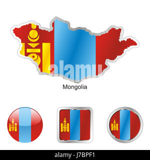 asia mongolia illustration flag button travel colour emblem asia mongolia - Stock Photo
