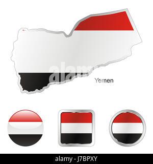 asia illustration flag button yemen travel colour emblem asia illustration flag - Stock Photo