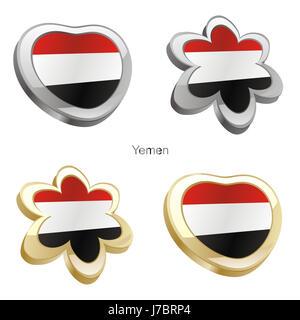 flower plant illustration flag yemen heart travel colour emblem flower plant - Stock Photo