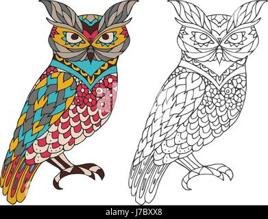 Printable coloring book page for adults - owl design, activity to older children and relax adult. vector   with - Stock Photo