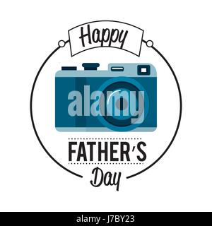 cute card of father day with camera decoration - Stock Photo