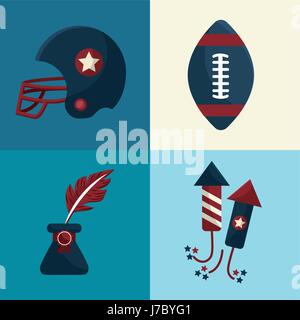 set american tradition elements icons - Stock Photo
