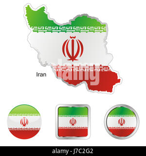asia illustration flag button iran travel colour emblem asia illustration flag - Stock Photo