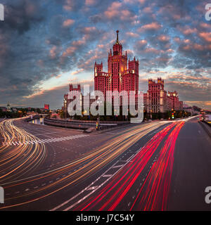 Kotelnicheskaya Embankment Building, One of the Moscow Seven Sisters in the Evening, Moscow, Russia