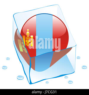 mongolia cold catarrh illustration flag freeze ice blue object travel isolated - Stock Photo