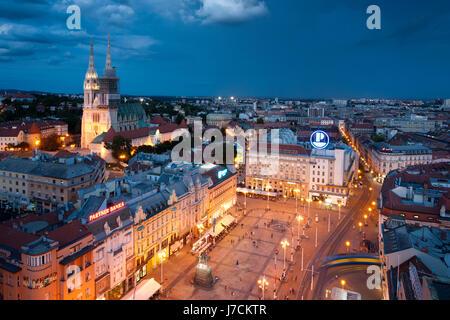 Zagreb city center panorama in the evening, Croatia