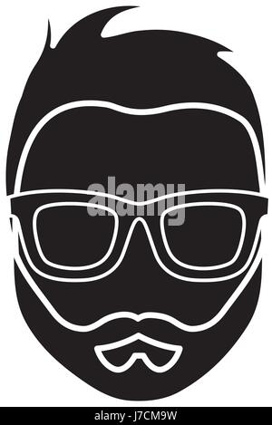 hipster man icon - Stock Photo