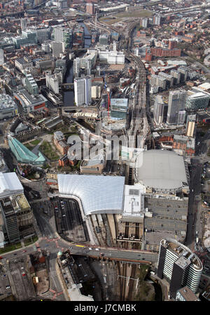 aerial view of Manchester Arena & Victoria Station, UK - Stock Photo