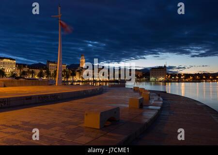 Town Split in sunrise, Croatia - Stock Photo