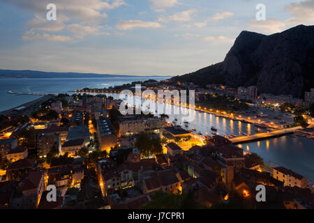 Omis town and river Cetina delta in sunset, Croatia - Stock Photo