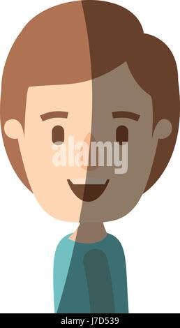 light color shading caricature side view half body boy with hairstyle - Stock Photo