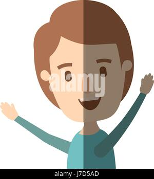 light color shading caricature side view half body boy with hands up - Stock Photo
