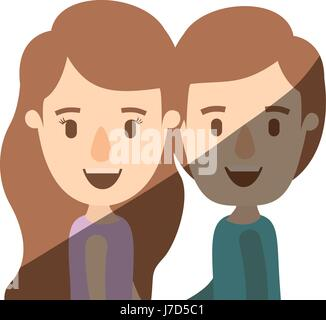 light color shading caricature side view half body couple children - Stock Photo