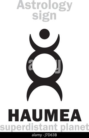 Astrology Alphabet: HAUMEA, superdistant dwarf planet. Hieroglyphics character sign (single symbol). - Stock Photo